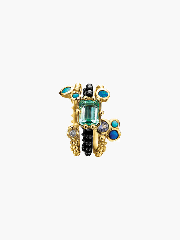 Boheme Emerald Blue Bouquet Trio Ring Boheme Emerald Blue Bouquet Trio Ring