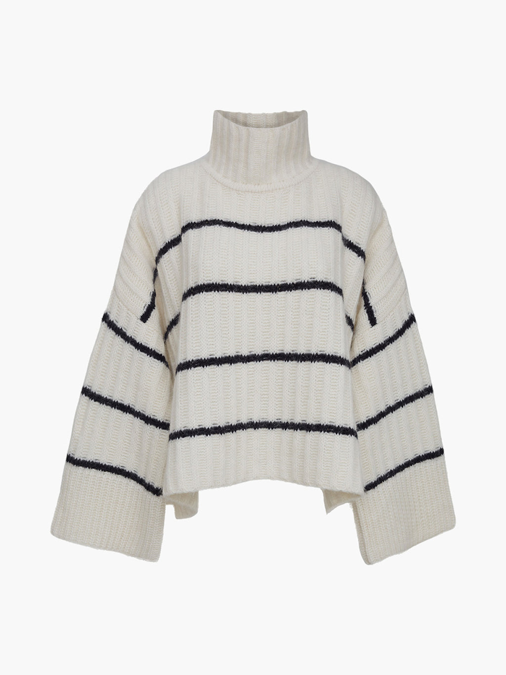 Talia Poncho Sweater | Ivory/Black Stripe
