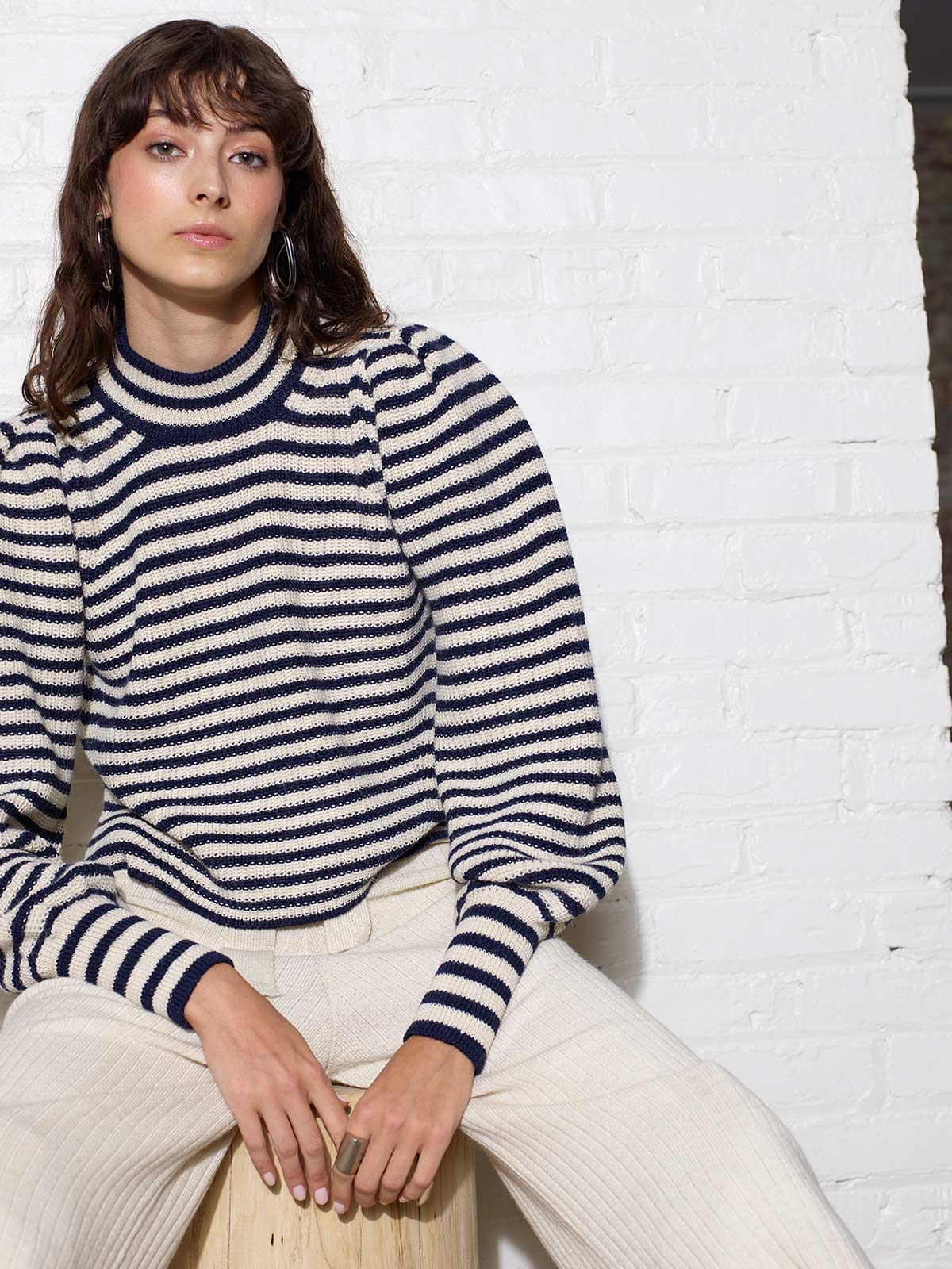 Mia Sweater | Ivory/Navy Stripe