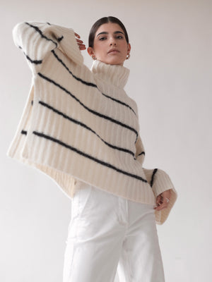 Talia Poncho Sweater | Ivory/Black Stripe Talia Poncho Sweater | Ivory/Black Stripe