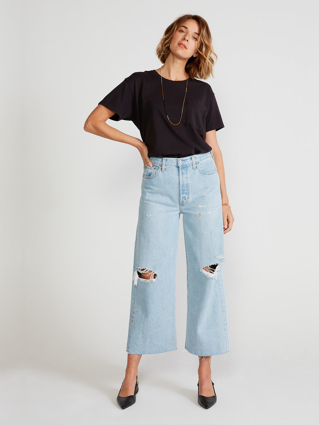 Devon Wide Leg Crop Jean | Mojave River