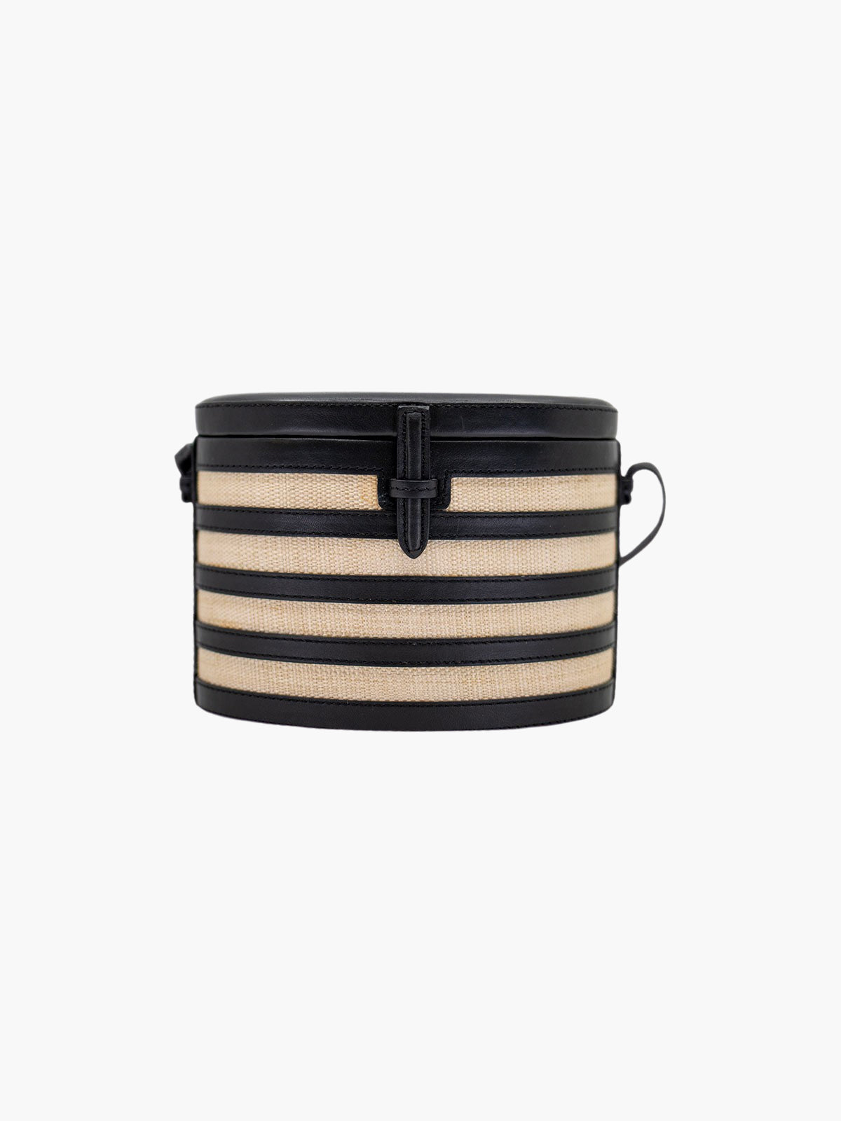 Round Trunk Bag | Black Stripes