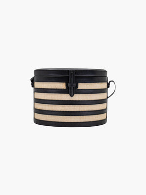 Round Trunk Bag | Black Stripes Round Trunk Bag | Black Stripes