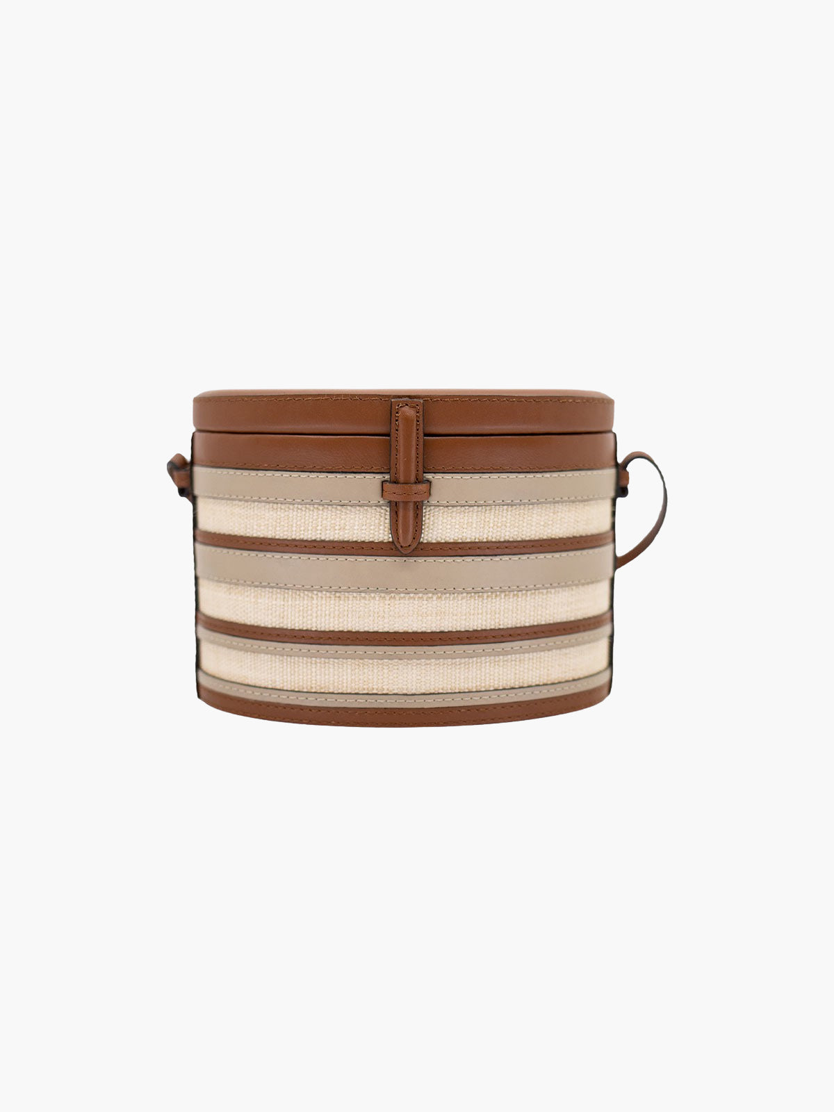 Round Trunk Bag | Cognac Stripe