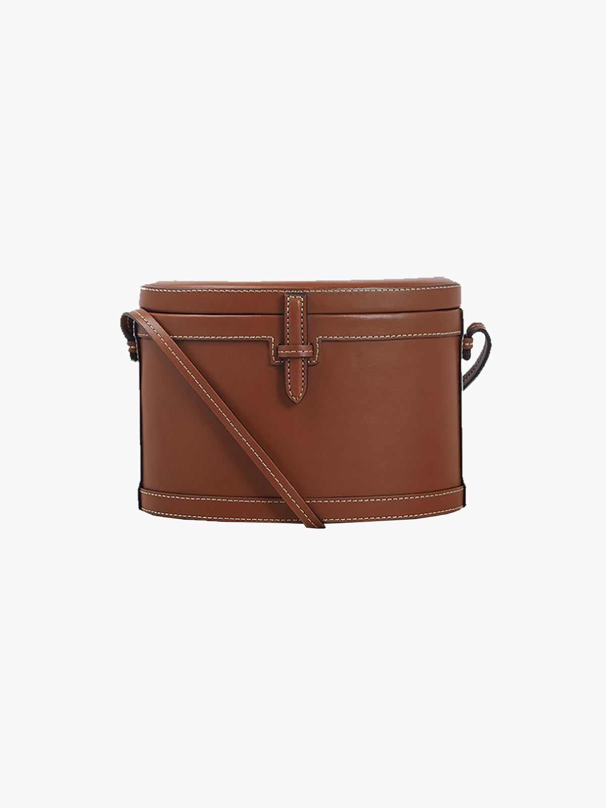 Round Trunk Bag | Stitched Cognac