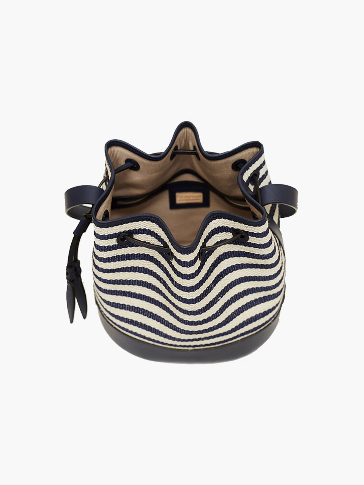 Woven Large Drawstring Bag | Navy Stripe