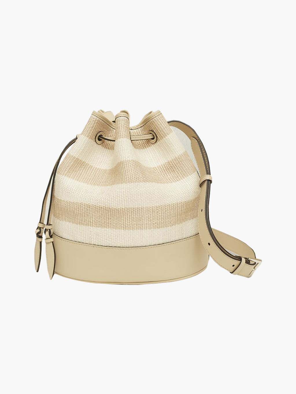 Woven Large Drawstring Bag | Oyster Stripe