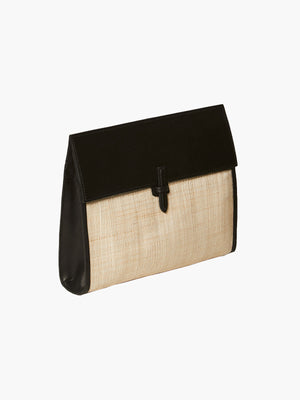Large Soft Flap Clutch Banana Leaf | Black Large Soft Flap Clutch Banana Leaf | Black