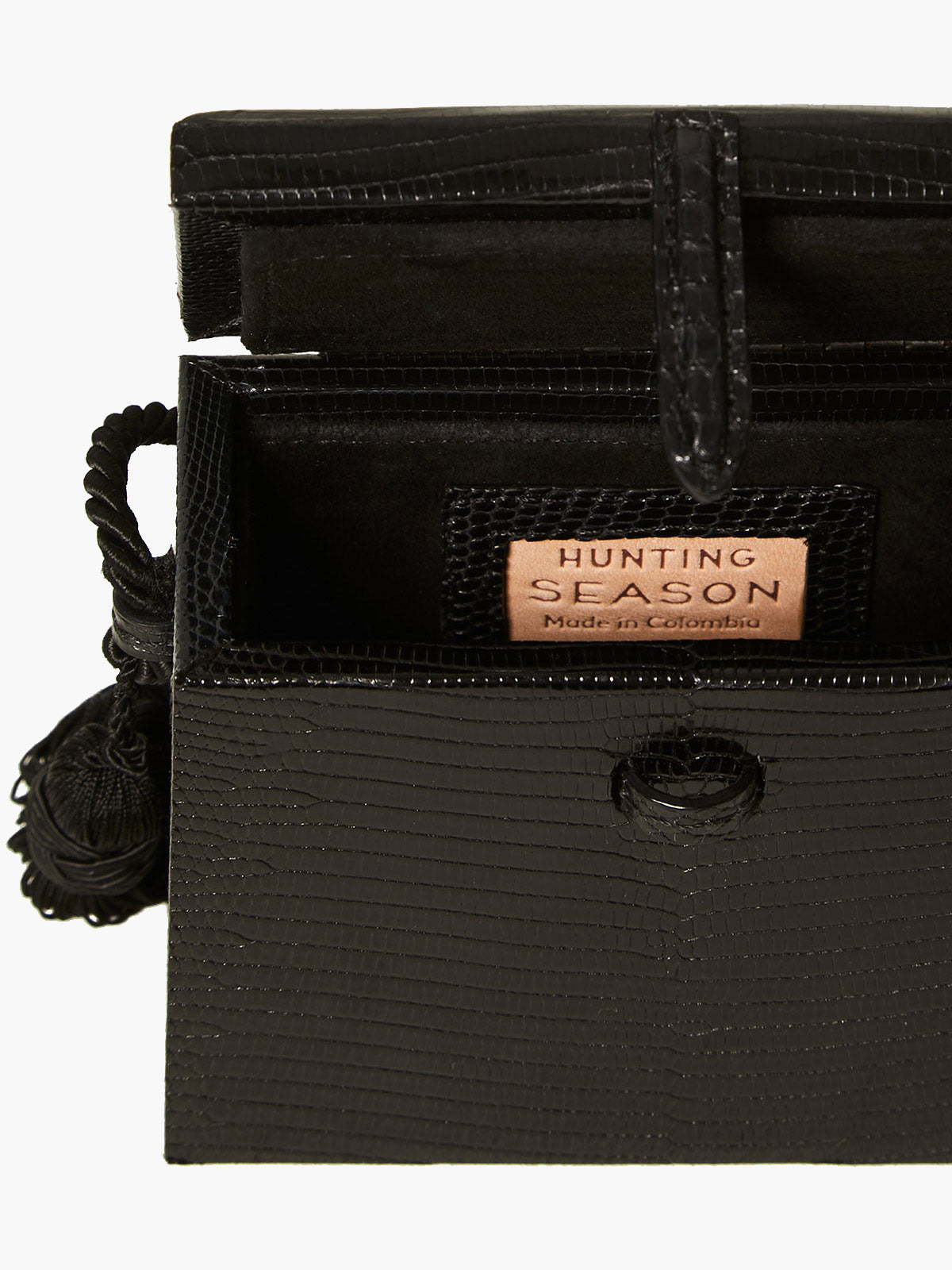 Mini Square Trunk With Tassels | Black Mini Square Trunk With Tassels | Black