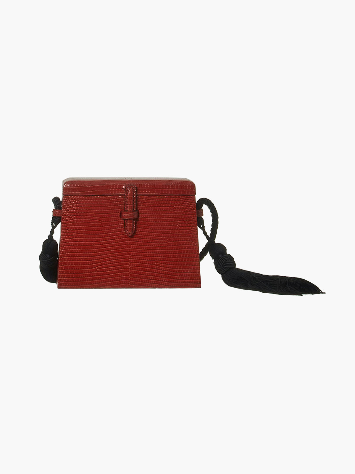 Mini Square Trunk With Tassels | Brick Red Mini Square Trunk With Tassels | Brick Red