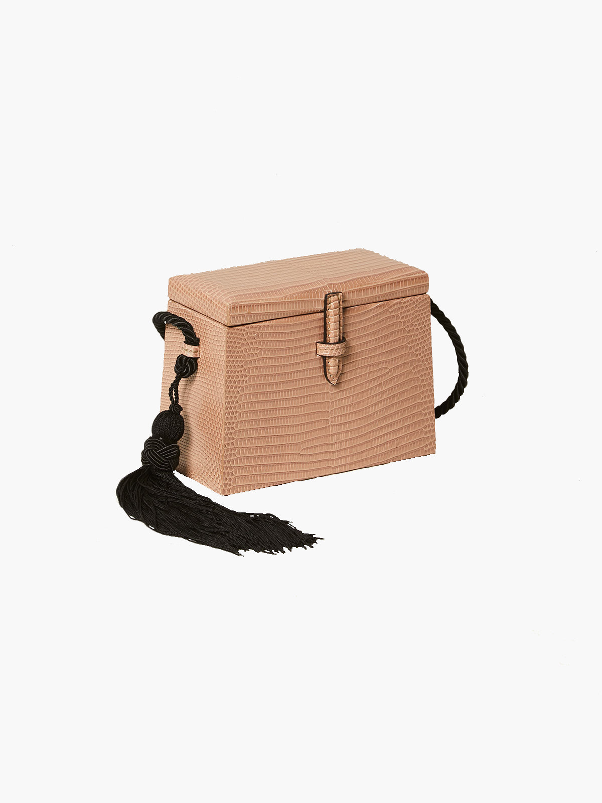 Mini Square Trunk With Tassels | Taupe Mini Square Trunk With Tassels | Taupe