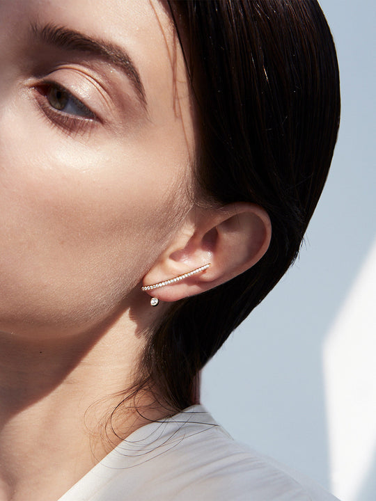 Crescendo Flare Pave Earring Left | Rose Gold