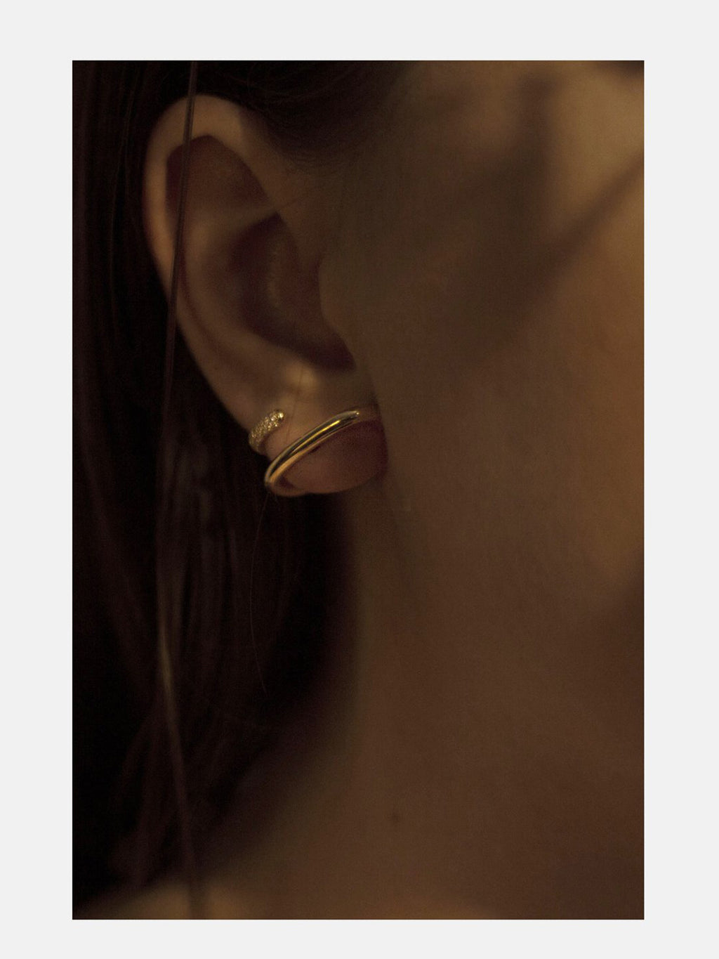 Mono Half Pave Earring | Rose Gold
