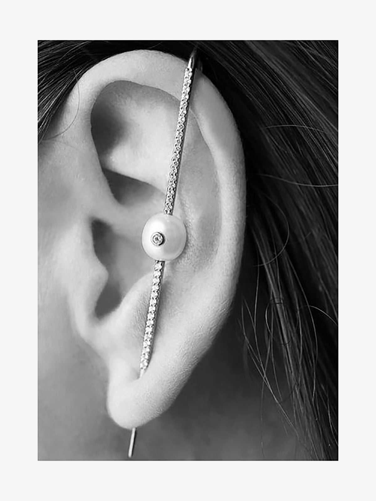 Floating Pearl Pave Ear Pin | Rose Gold