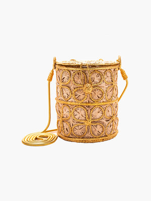 Floral Inlay Cylinder Bag Floral Inlay Cylinder Bag