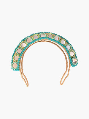 Mini Halo Beaded Mirror Headpiece | Blue Mini Halo Beaded Mirror Headpiece | Blue