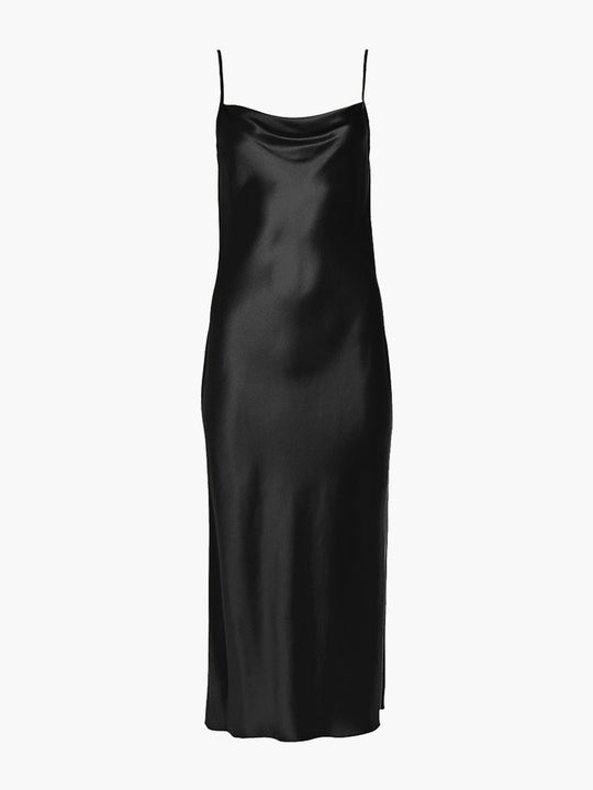 Draped Spaghetti Strap Midi Dress | Black