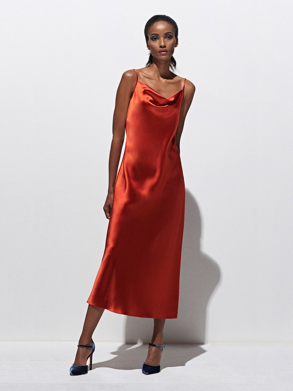 Draped Spaghetti Strap Midi Dress | Burnt Orange