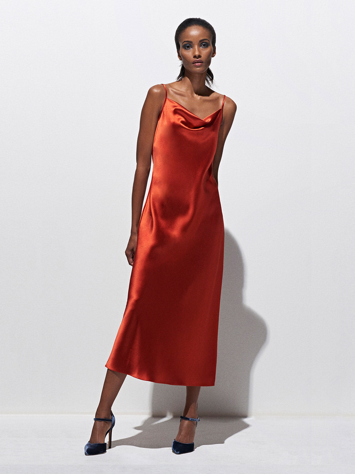 Draped Spaghetti Strap Midi Dress | Burnt Orange Draped Spaghetti Strap Midi Dress | Burnt Orange