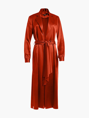 Long Sleeve Coat Dress | Burnt Orange Long Sleeve Coat Dress | Burnt Orange