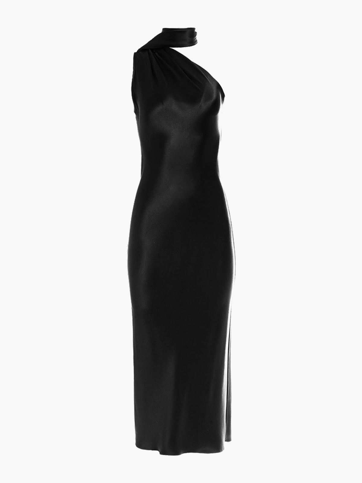 One Shoulder Bias Dress | Black