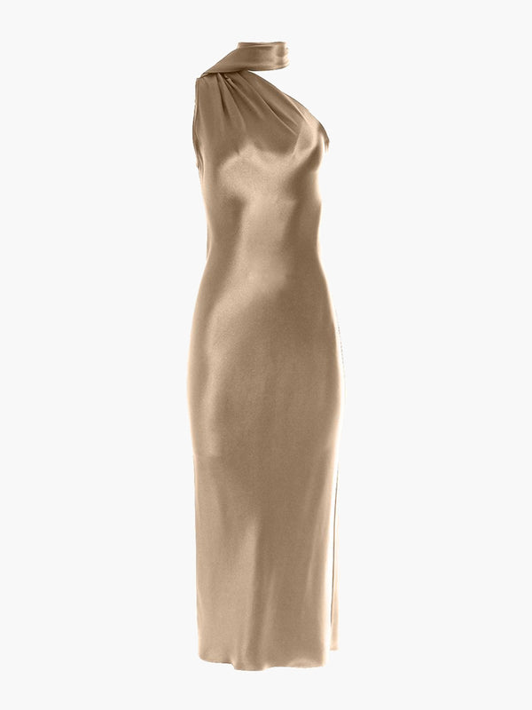 One Shoulder Bias Dress | Champagne One Shoulder Bias Dress | Champagne