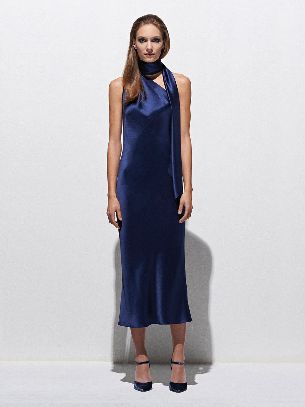 One Shoulder Bias Dress | Marine One Shoulder Bias Dress | Marine
