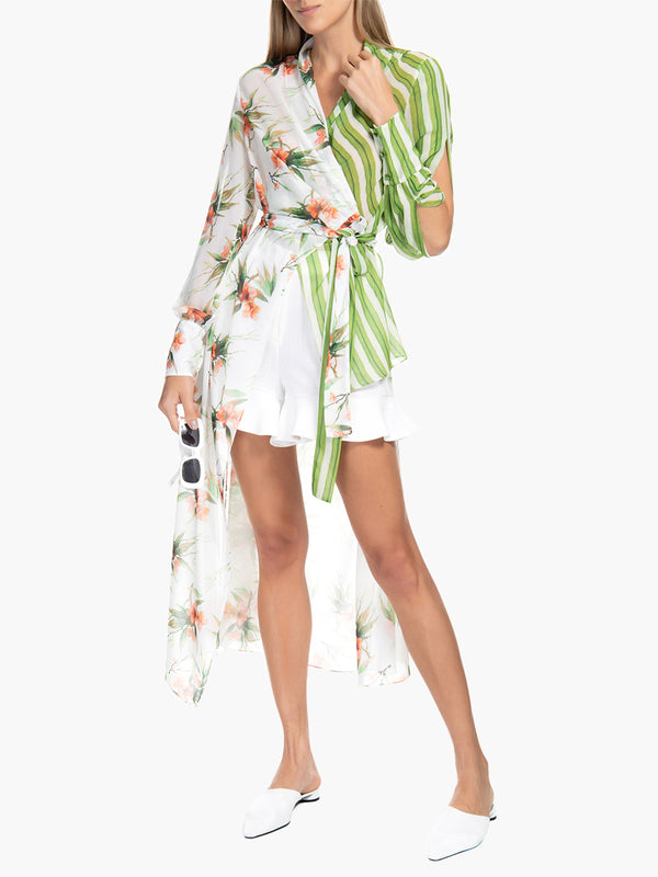 Mixed Print Hi-Low Tunic Top Mixed Print Hi-Low Tunic Top