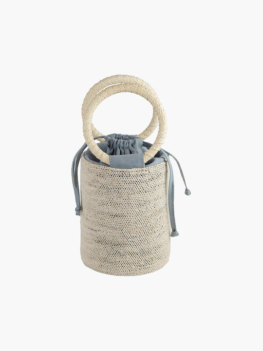 Cylinder Bag | Natural-Dusty Blue