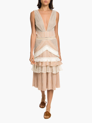 Mesh and Fringe Midi Dress Mesh and Fringe Midi Dress