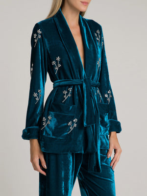 Beaded Velvet Robe Jacket | Azure Beaded Velvet Robe Jacket | Azure