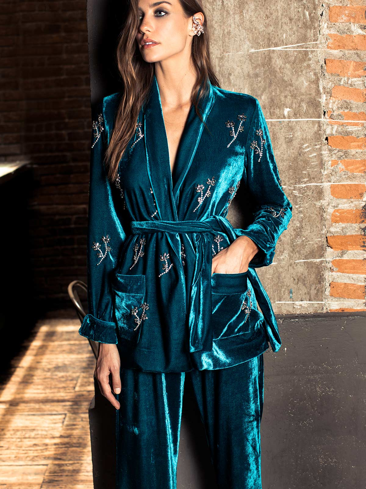 Beaded Velvet Robe Jacket | Azure