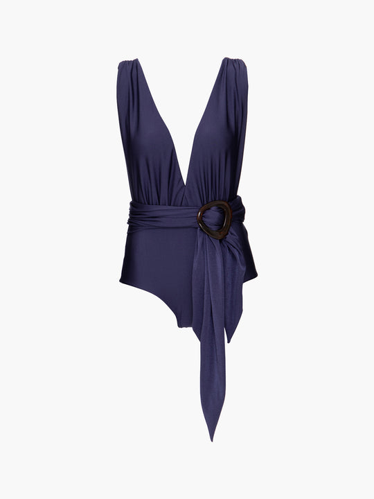 Belted Plunge One Piece | Navy