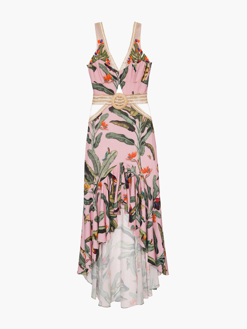 Embroidered Tropical Print Belted Midi Dress