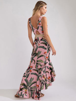 Embroidered Tropical Print Belted Midi Dress Embroidered Tropical Print Belted Midi Dress