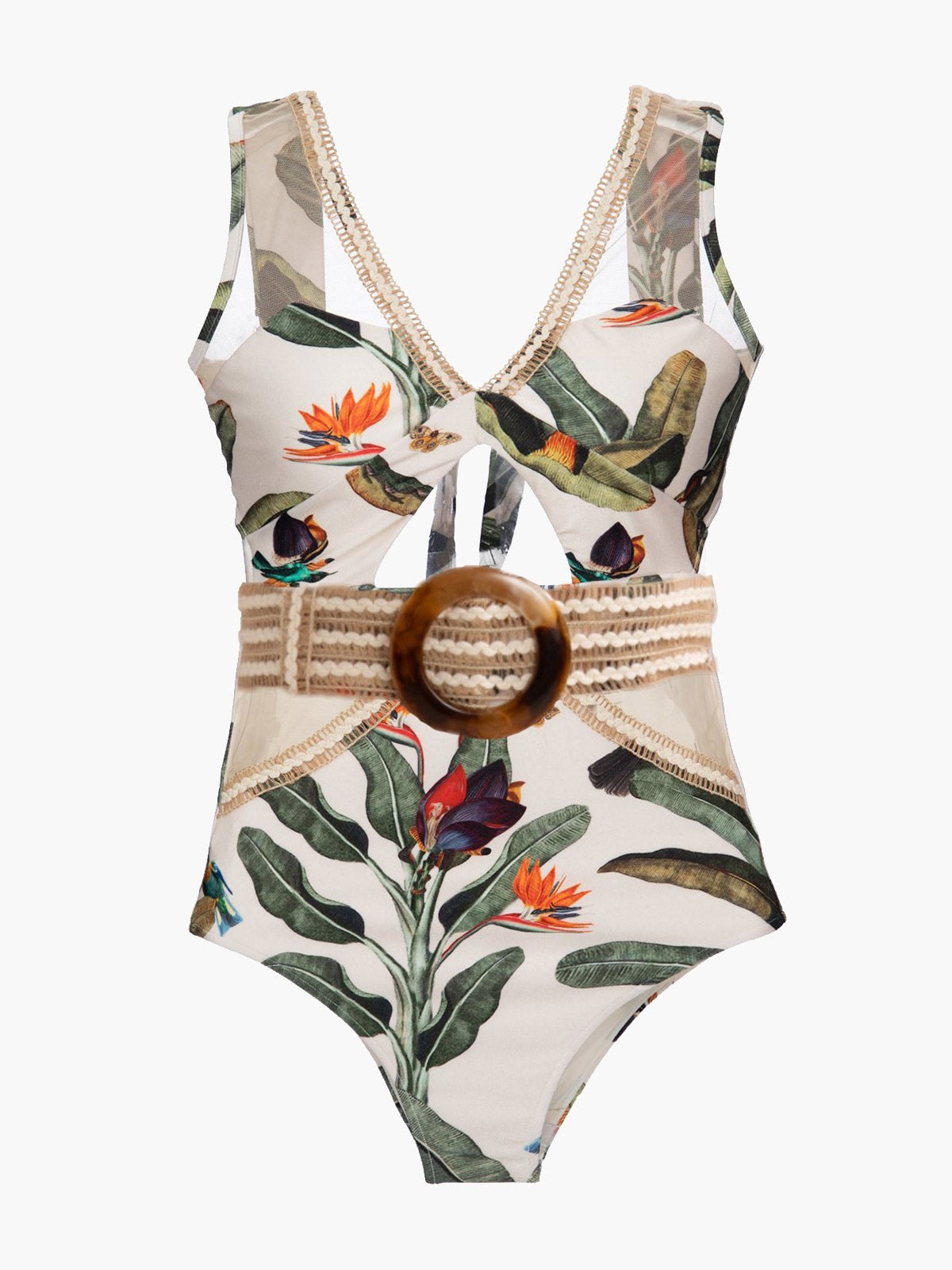 Embroidered Tropical Print One Piece