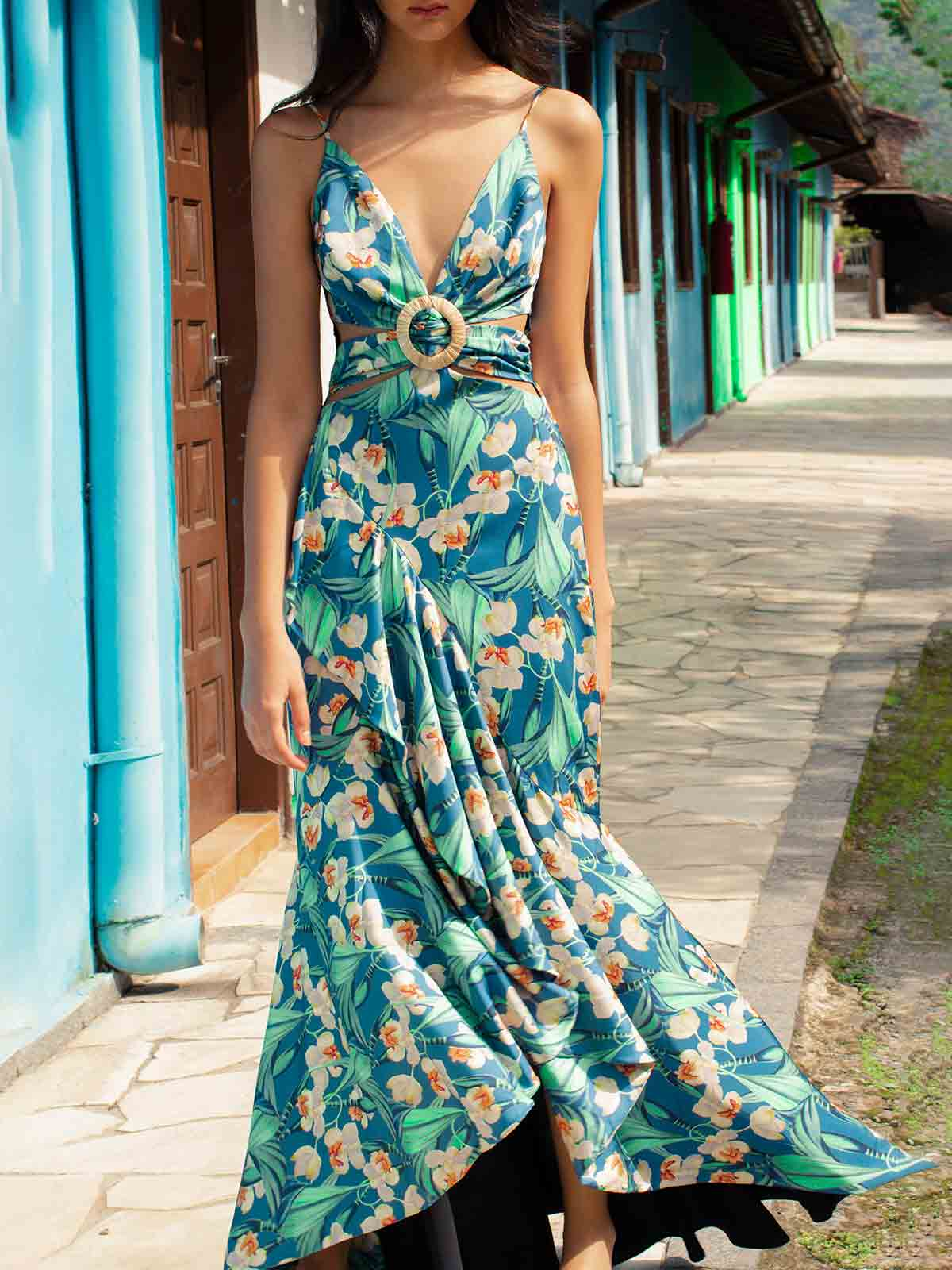 Floral Belted Maxi Dress | Blue Floral Belted Maxi Dress | Blue
