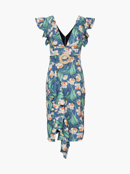 Floral Belted Midi Dress | Blue