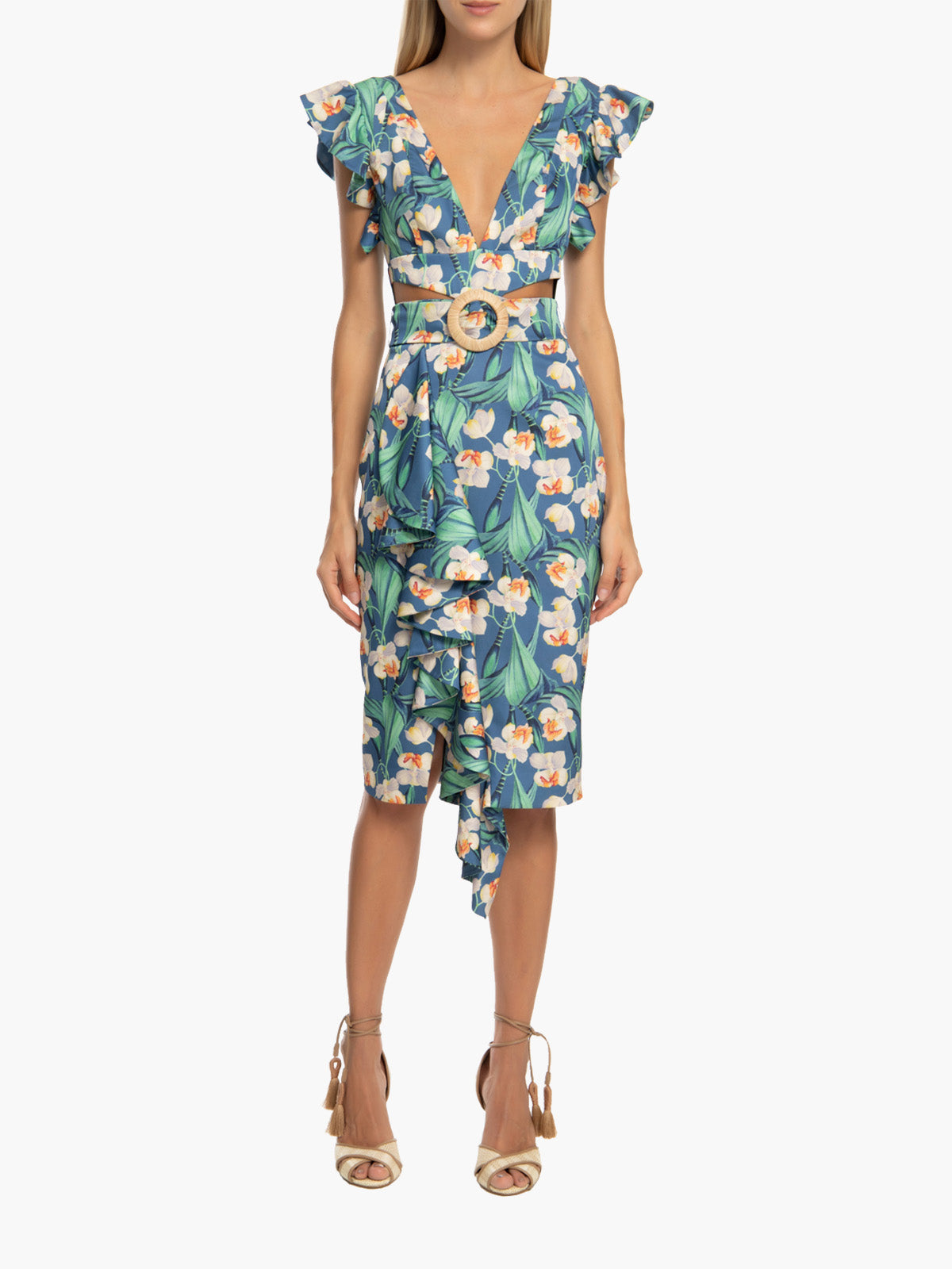 Floral Belted Midi Dress | Blue Floral Belted Midi Dress | Blue