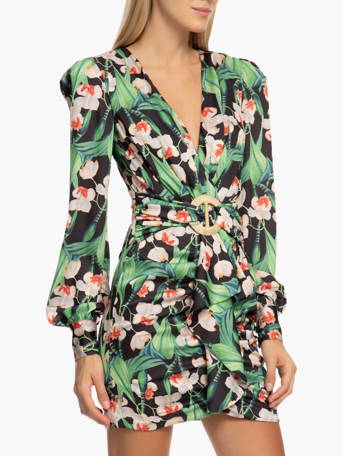 Floral Long Sleeve Belted Mini Dress | Black Floral Long Sleeve Belted Mini Dress | Black