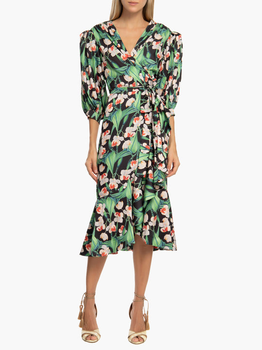 Floral Midi Wrap Dress | Black