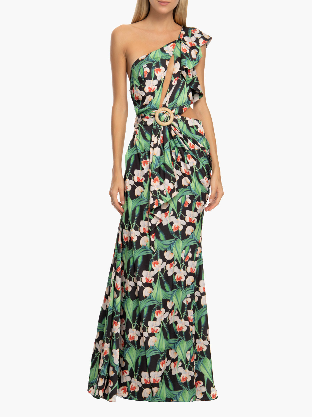 Floral One Shoulder Cutout Maxi Dress