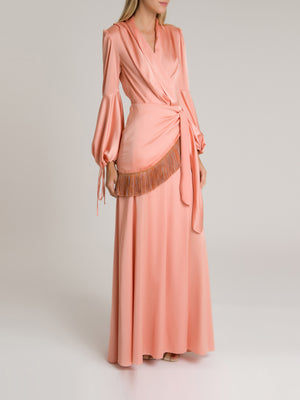 Fringe Trim Maxi Wrap Dress Fringe Trim Maxi Wrap Dress