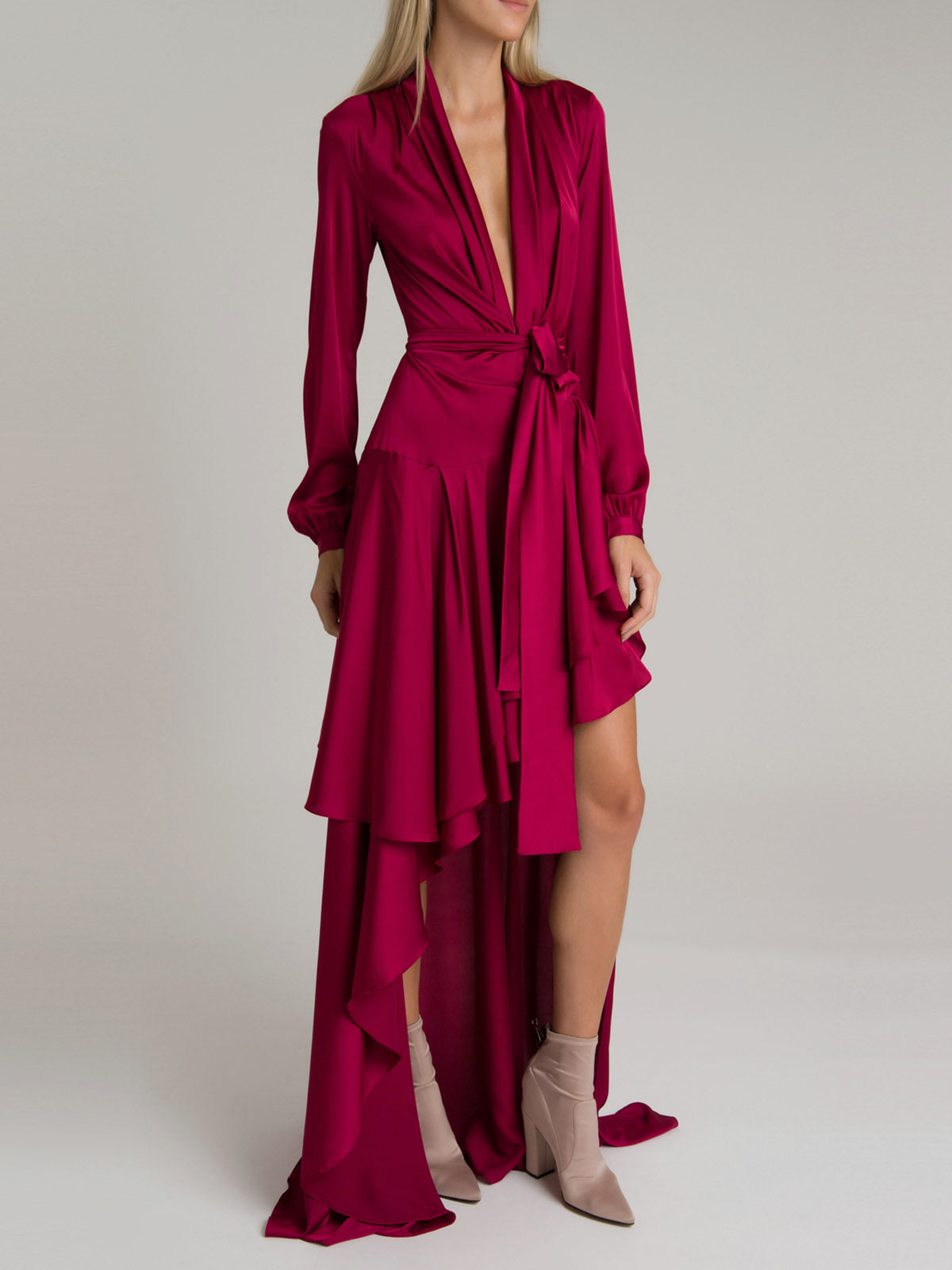 Hi-Low Maxi Wrap Dress | Crimson