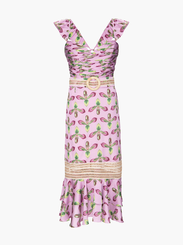 Jute Trim Belted Midi Dress | Bright Lilac Jute Trim Belted Midi Dress | Bright Lilac
