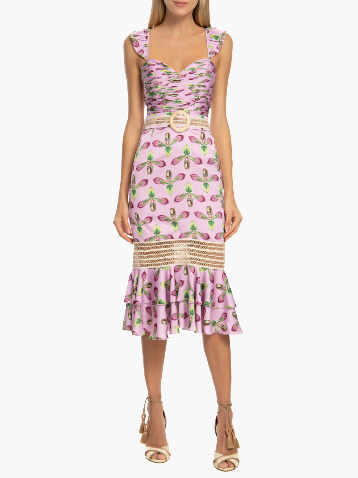 Jute Trim Belted Midi Dress | Bright Lilac
