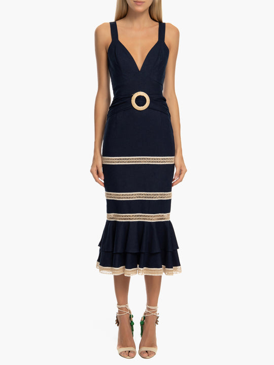 Jute Trim Linen Midi Dress | Navy