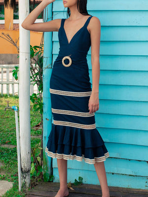 Jute Trim Linen Midi Dress | Navy Jute Trim Linen Midi Dress | Navy