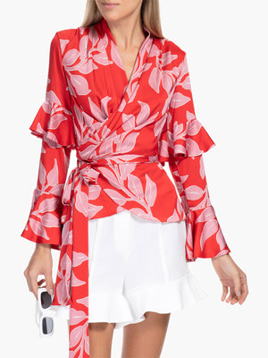 Leaf Print Ruffle Sleeve Wrap Top Leaf Print Ruffle Sleeve Wrap Top