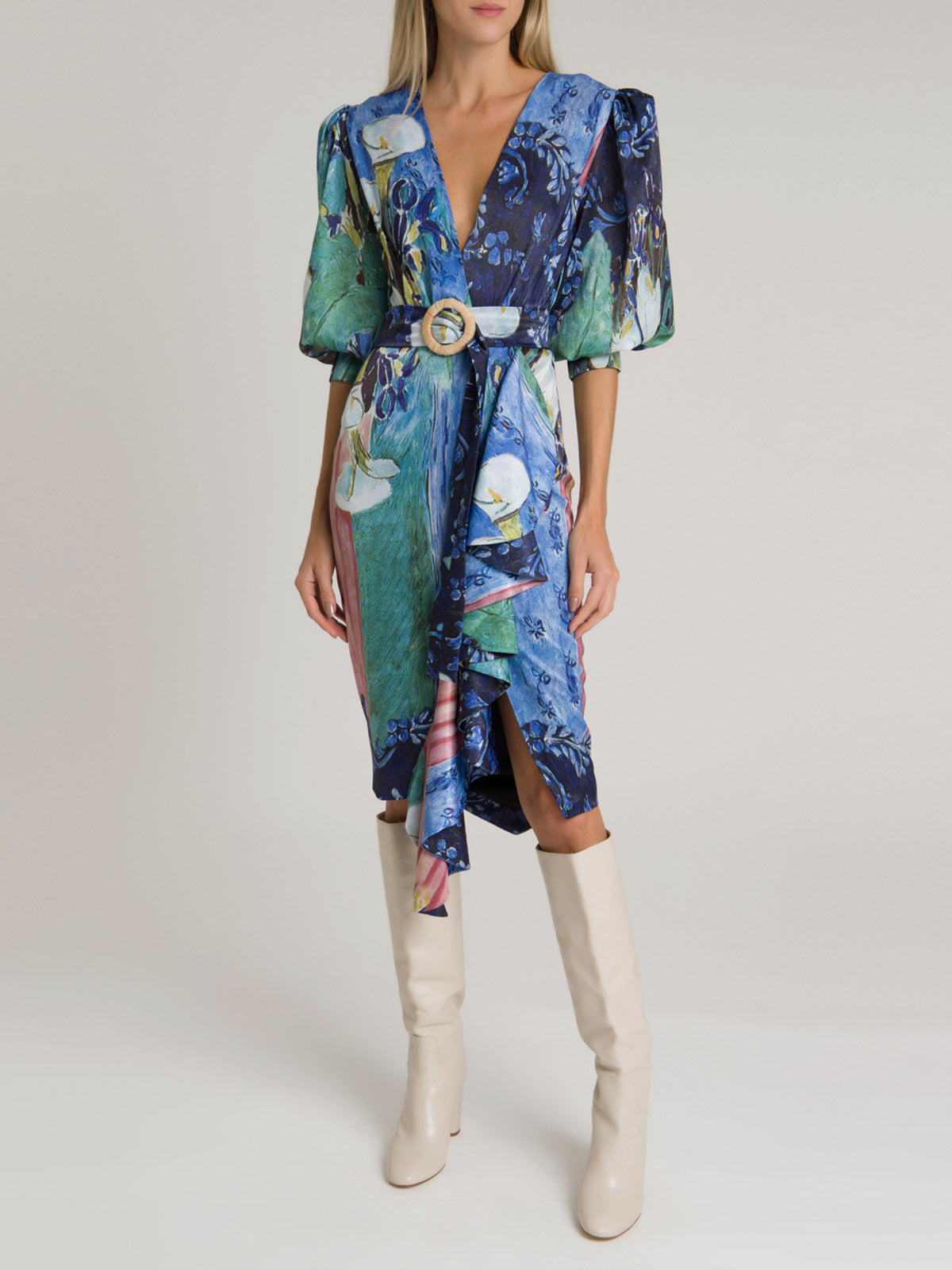 Lily Print Belted Midi Dress | Blue Multi